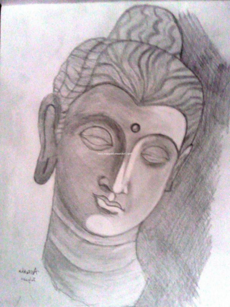 768x1024 Pencil Sketches Of Buddha Gautam Buddha Pencil Sketch Images