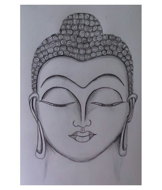 620x726 ruchi arts off white gautam buddha pencil sketch buy ruchi arts