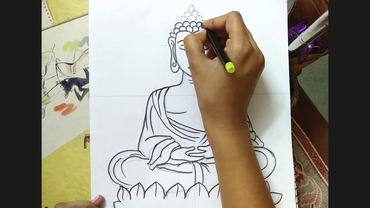 1280x720 How To Draw Lord Buddha Easy Easy Drawing Buddha Tutorial