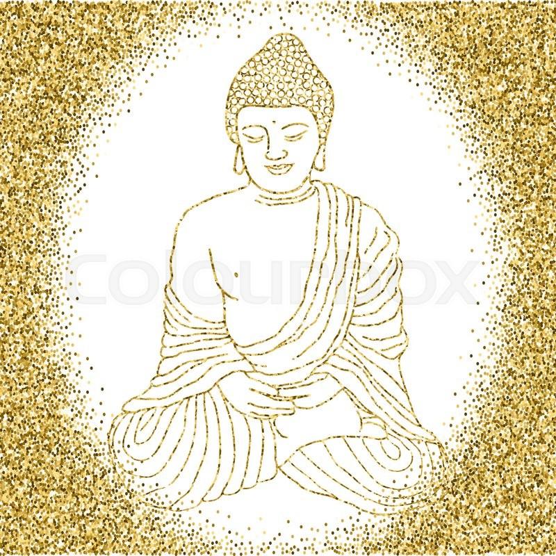 800x800 Buddha In Meditation, Sitting In Lotus Position. Hand Drawn Vector