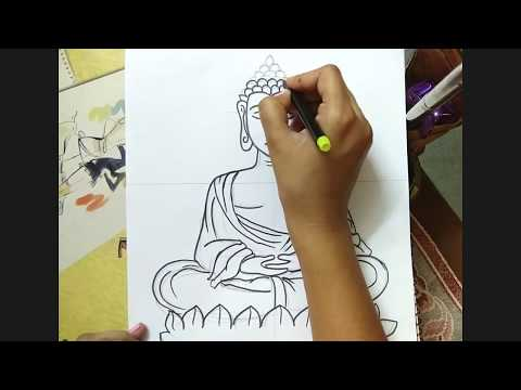 480x360 How To Draw Lord Buddha Face Draw For Kids Aka Videos