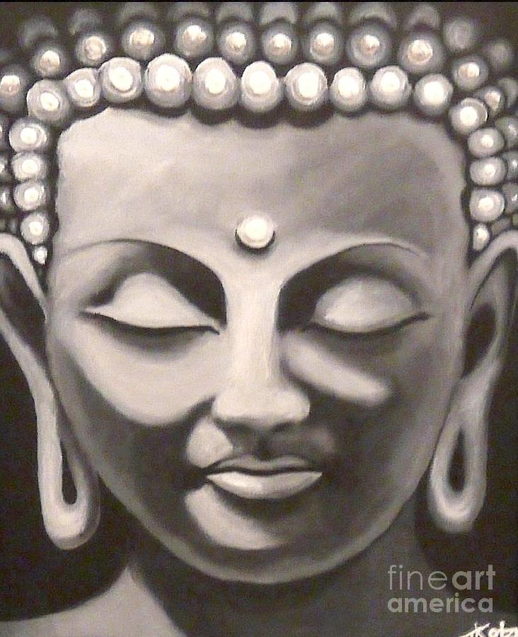 732x900 Buddha Head Painting By Treacey Kotze