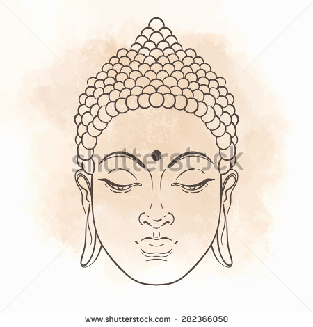 450x470 Head Of Buddha. Vector Illustration Isolated On White