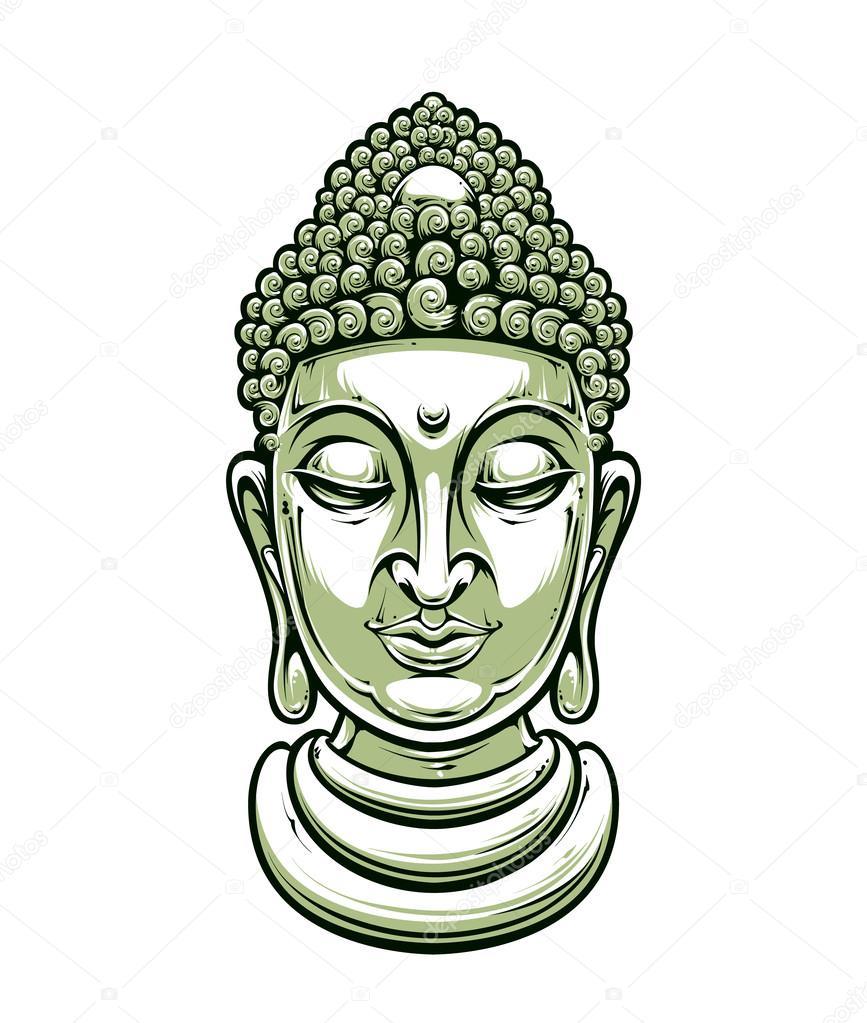 867x1023 Vector Buddha Head Stock Vector Vecster