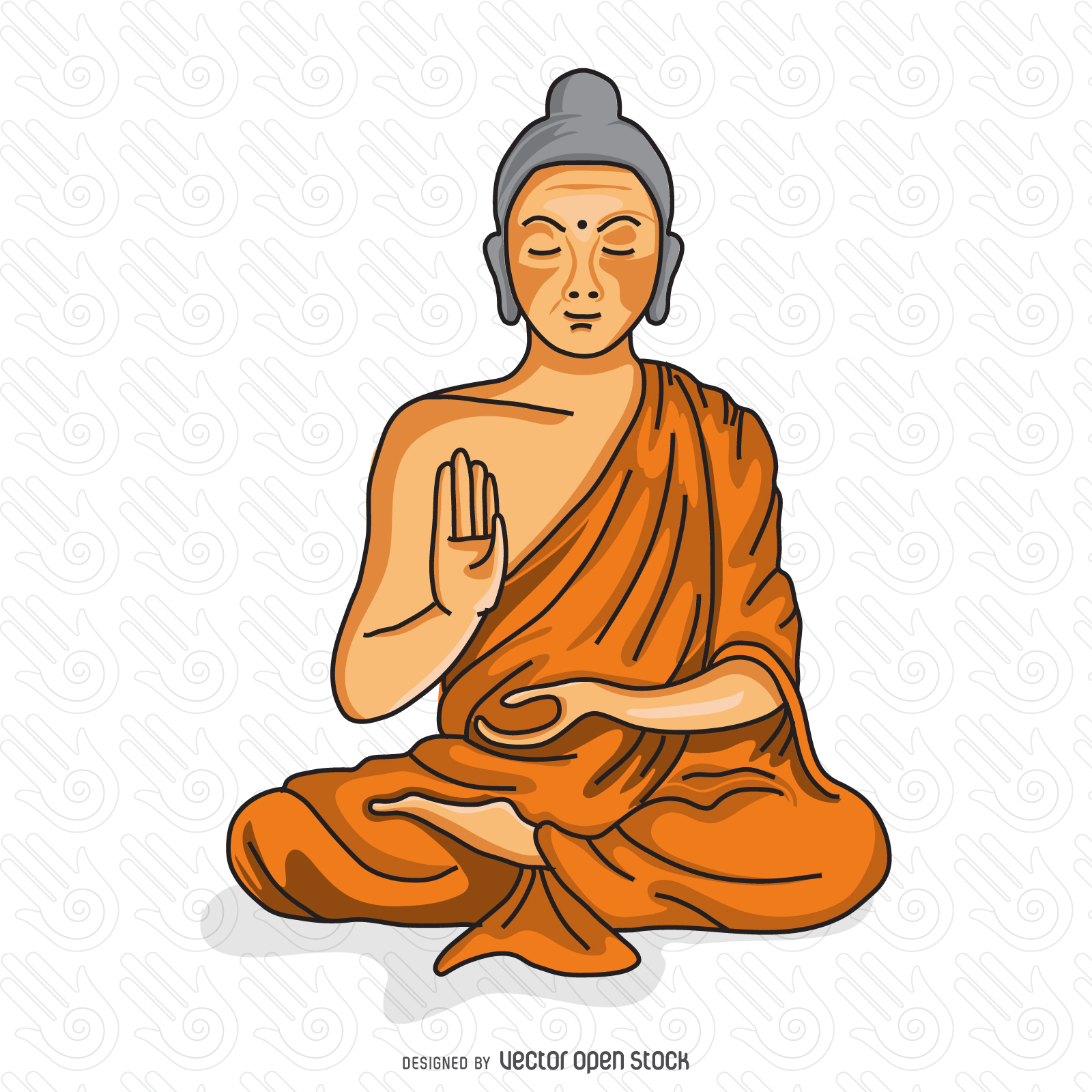 1600x1600 Buddhist Monk Meditating Illustration Buddhist Monk
