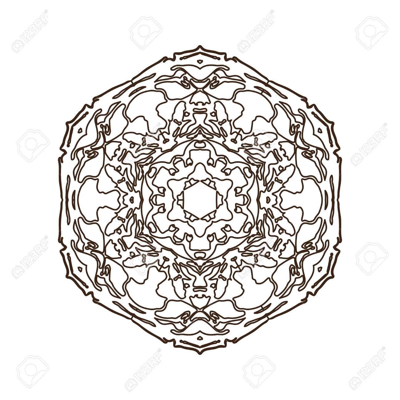 1300x1300 Mandala. Floral Vintage Round Amulet. Indian, Arabic, Buddhist