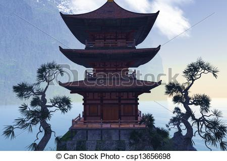 450x320 Buddhist Temple In Mountains. Buddhist Temple In The Stock