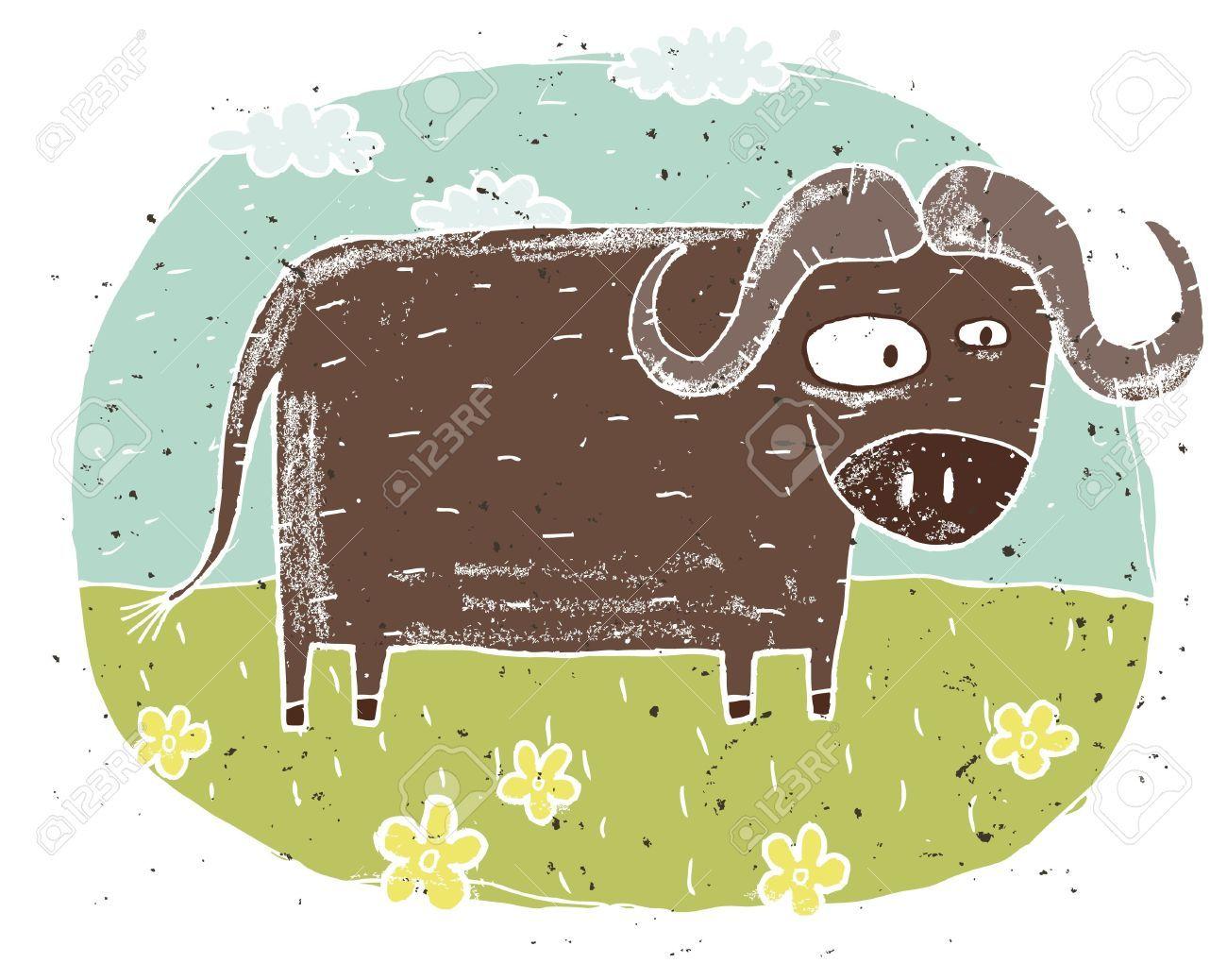 1300x1038 Cute Buffalo Cartoon Drawing