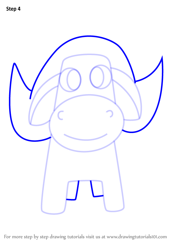 598x844 Learn How To Draw A Buffalo For Kids (Animals For Kids) Step By