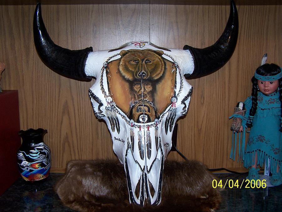900x675 Painted Buffalo Skull Mixed Media By Harlan Dillon