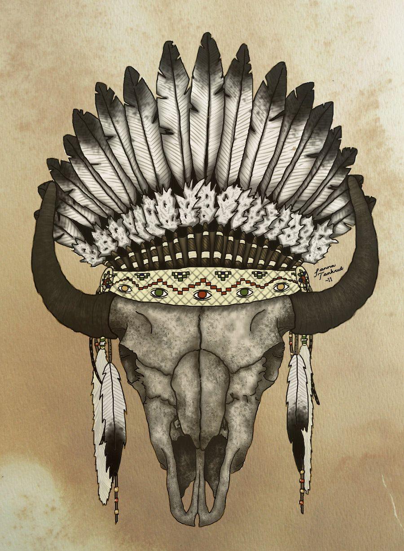 900x1228 Buffalo Skull Drawing By Elizabeth Moug Animals, Eagle Feather