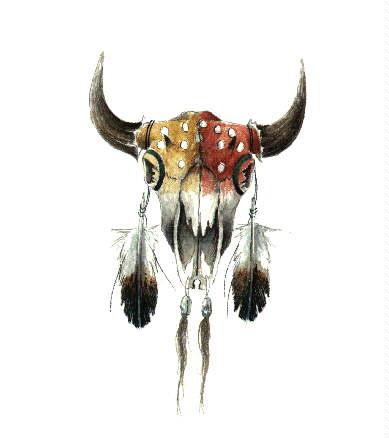 389x438 Native American Buffalo Skull Art Tattoooos