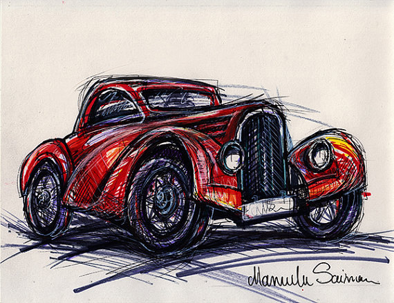570x439 Classic Car Sketch Old Bugatti Wall Art Old Car Drawing