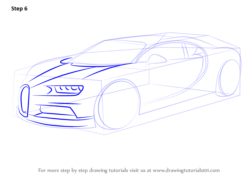 843x596 Learn How To Draw Bugatti Chiron (Sports Cars) Step By Step