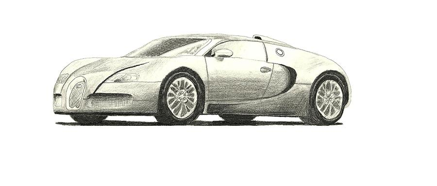900x383 Bugatti Veyron Drawing By Keegan Miller