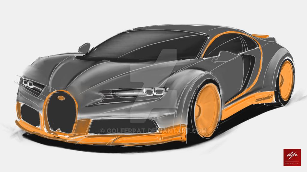 1024x576 Sketch Of A Bugatti Chiron Super Sport By Golferpat