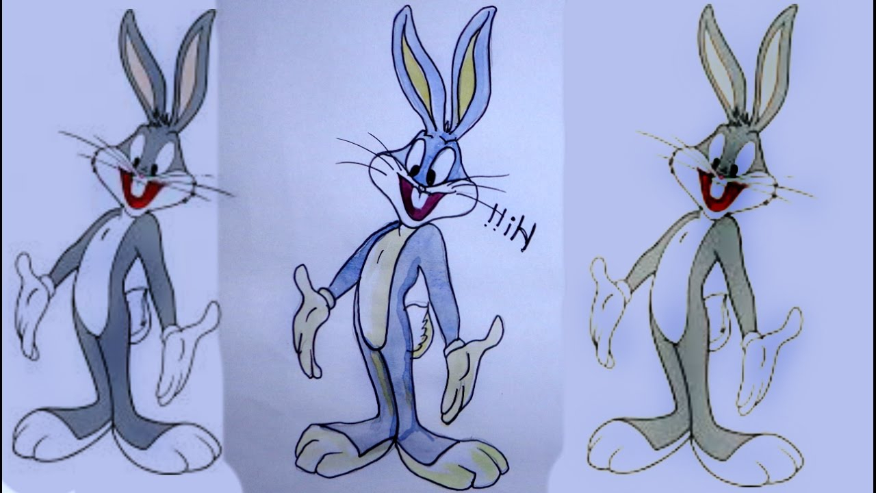 1280x720 Rabbit Face 3d Line Drawing Bugs Bunny Cartoons How To Draw Bugs