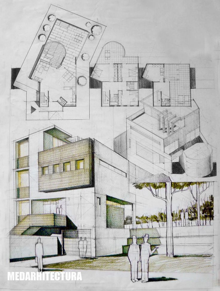 736x974 freehand drawings sketching architecture house buildings arch