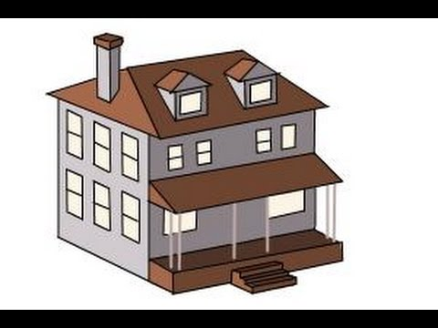 480x360 How To Draw A House, Two Story House