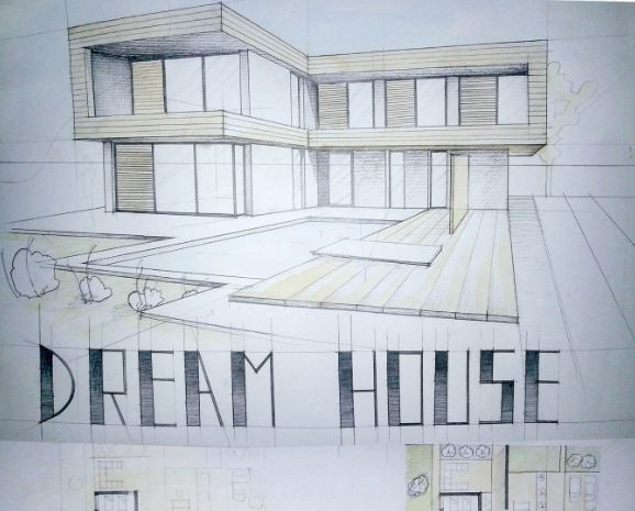 578x465 modern house drawing perspective floor plans design architecture