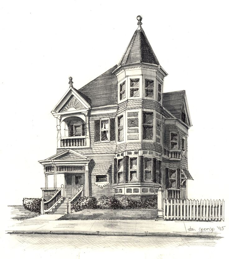 736x833 Paintings of victorian houses How To Draw Victorian Houses