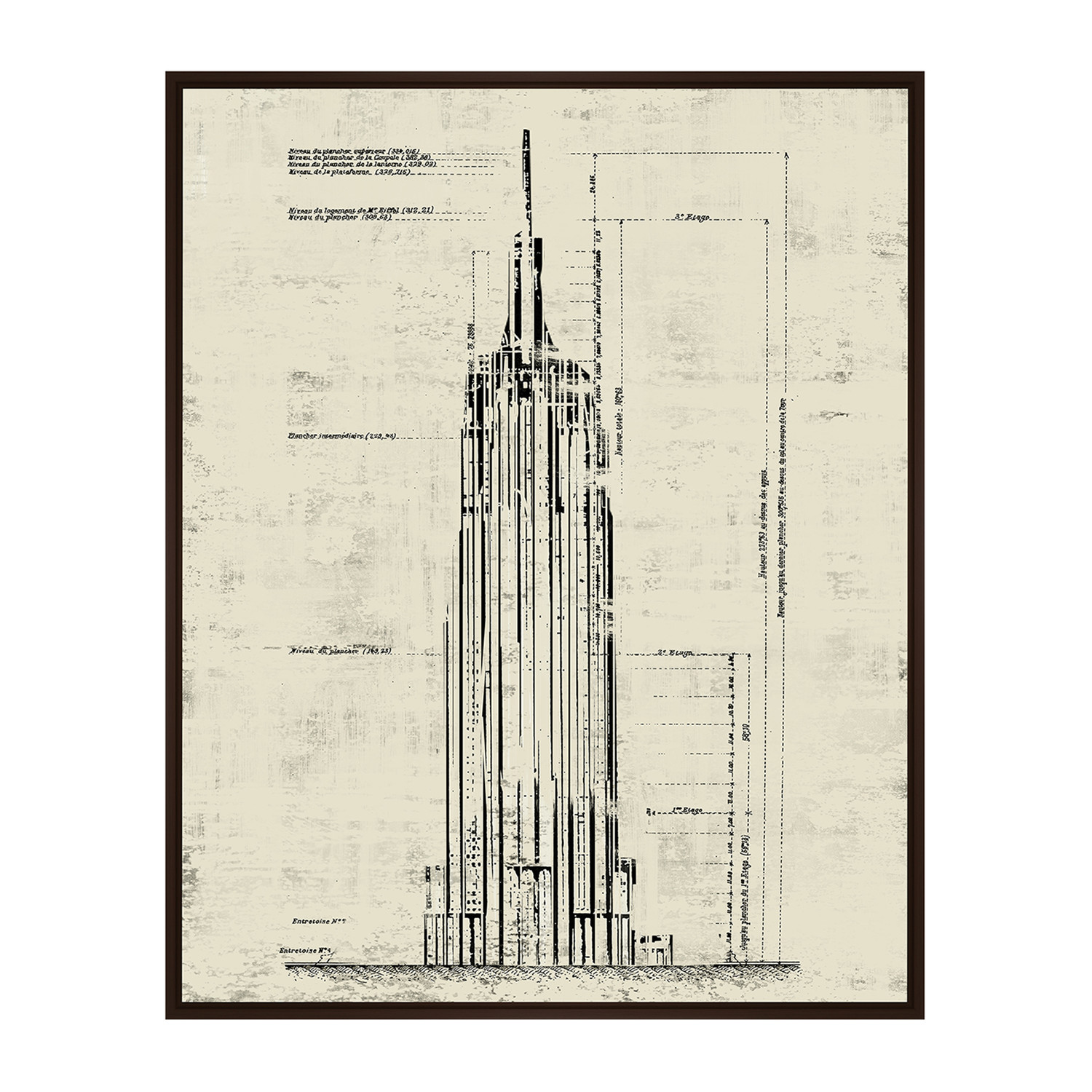 1500x1500 Empire State Building Architectural Drawing Sepia (17.75w X