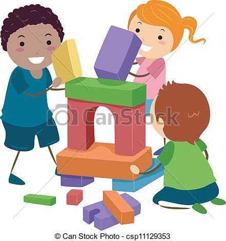441x470 Stickman Building Blocks. Illustration Of Stick Kids Playing