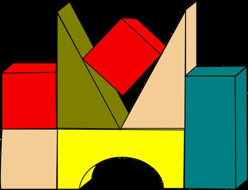 500x383 Vector Drawing Of Wooden Color Building Blocks Public Domain Vectors