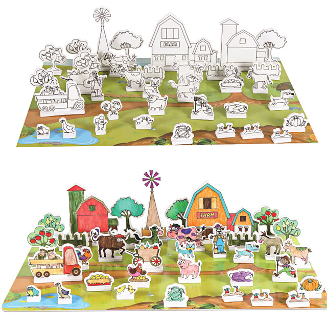 640x640 3d Drawing Puzzle Farm Building Blocks Toy Educational Toy