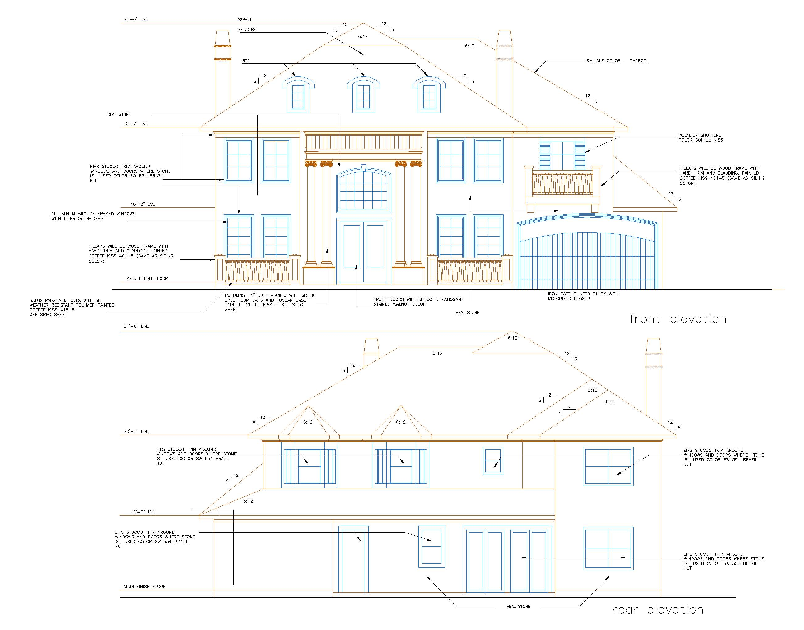 2604x2043 Usa Exterior Elevations, Architectural Elevations Usa