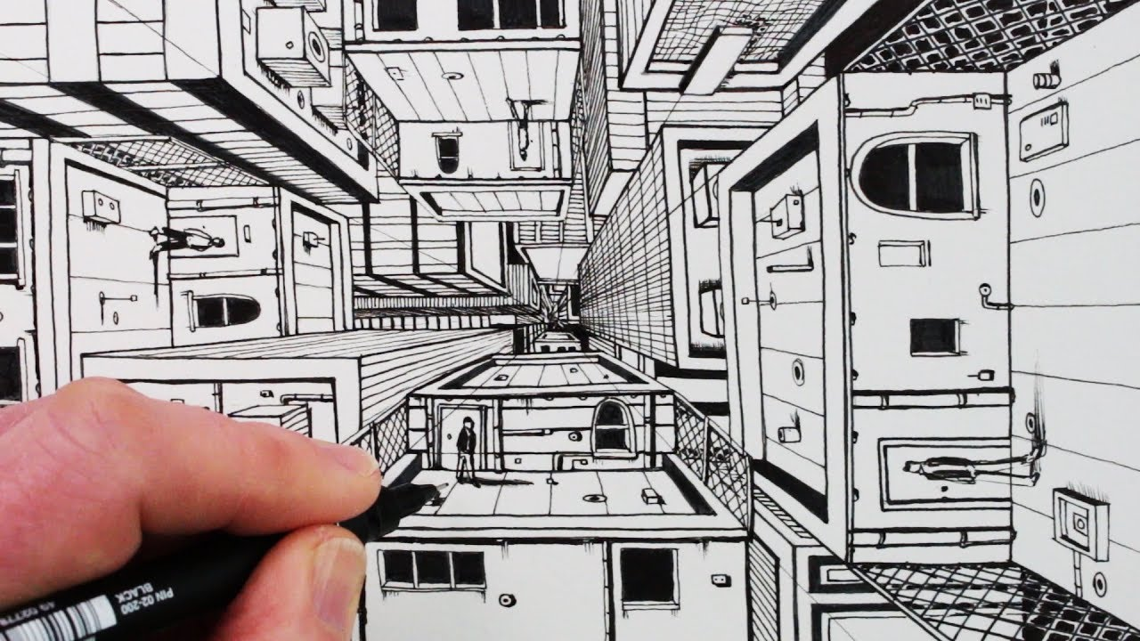 1280x720 How To Draw 1 Point Perspective Draw 3d Buildings