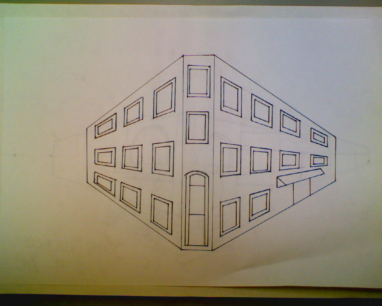 1280x1024 Sam Sangster Two Point Perspective City Building Drawing