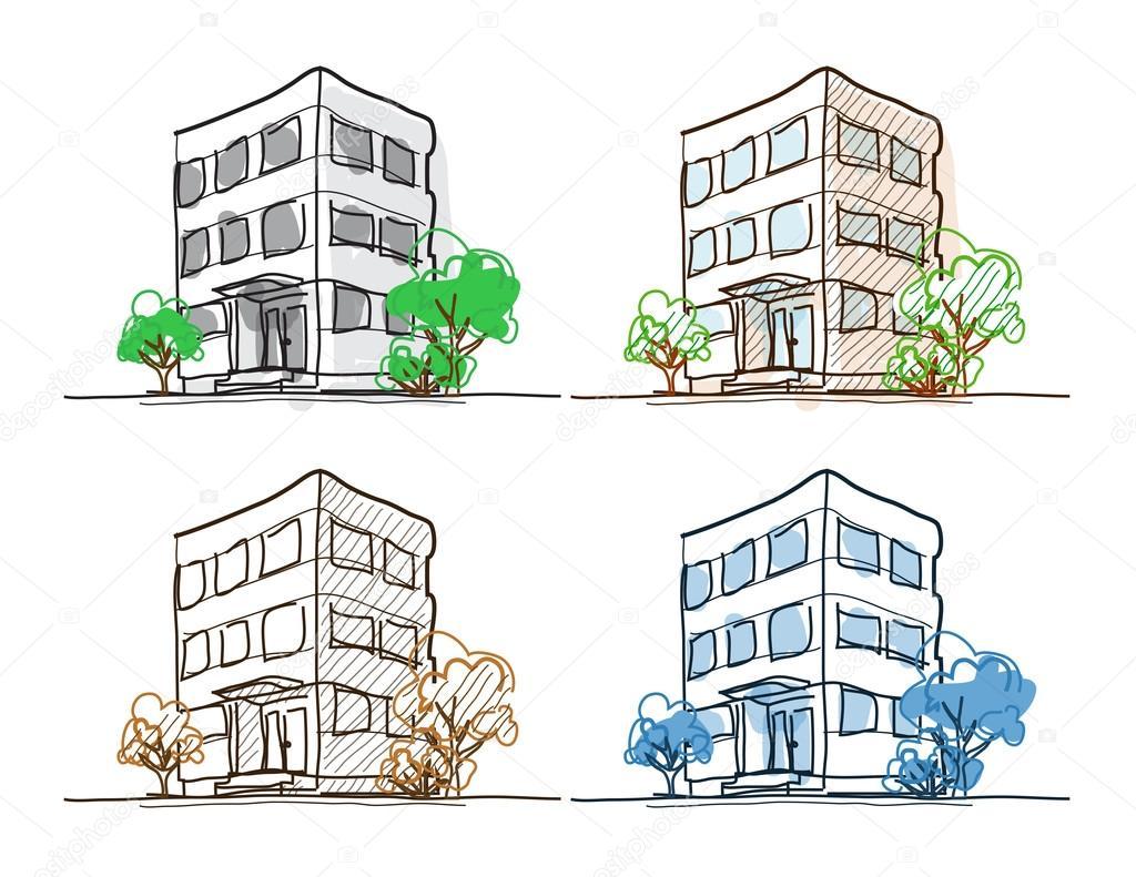 1024x791 Cartoon Drawing Outline Vector Buildings Doodle Stock Vector