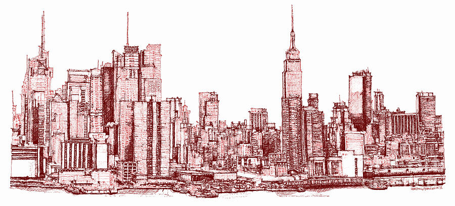 900x409 New York Maroon Ink Drawing By Building Art