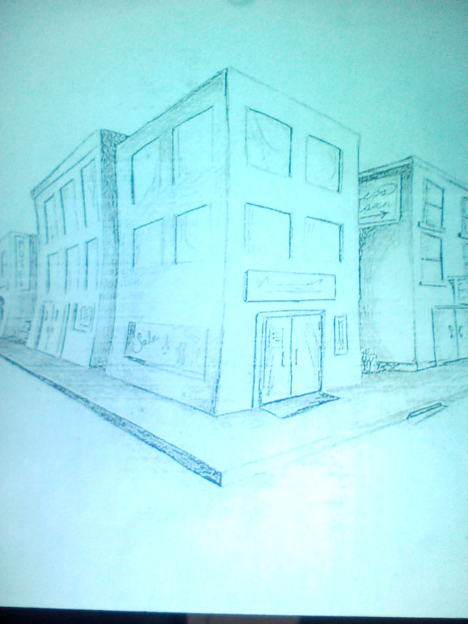 670x893 How To Draw Buildings In Perspective 9 Steps (With Pictures)