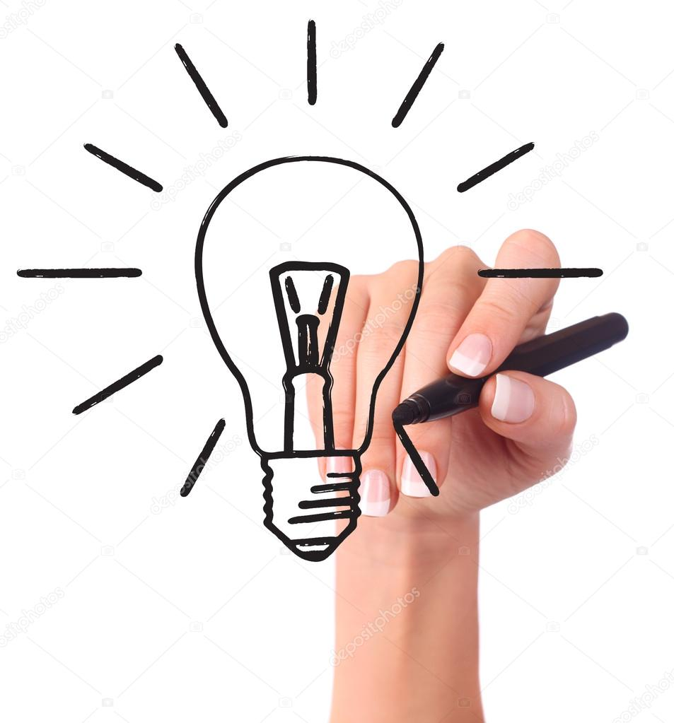 953x1023 Hand Drawing Light Bulb Stock Photo Halina Photo