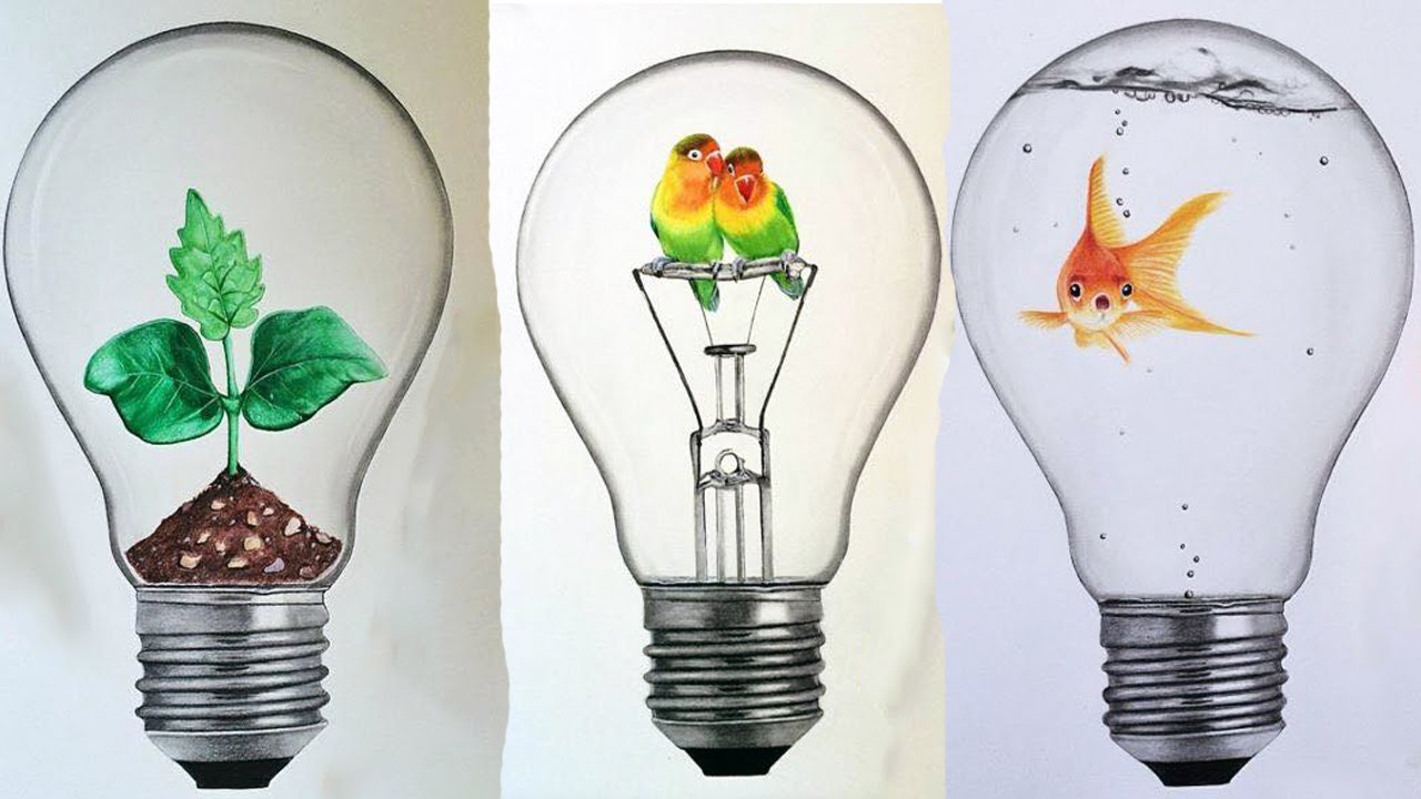 1280x720 Interesting Idea In Bulbs Drawing By Roman