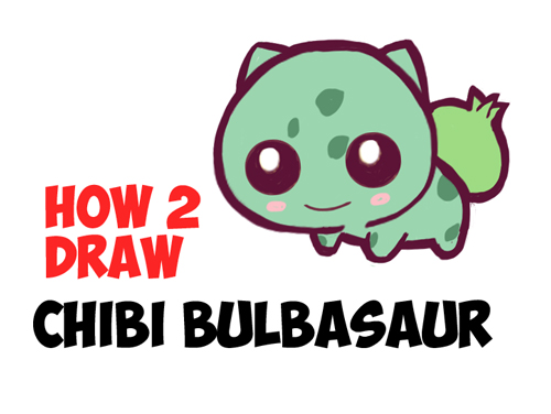 500x376 How To Draw Cute Baby Chibi Bulbasaur From Pokemon In Easy Steps