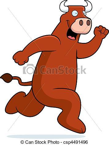 355x470 A Happy Cartoon Bull Running And Smiling. Clip Art Vector