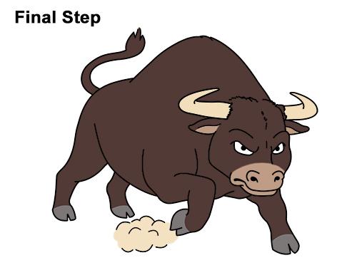 500x386 How To Draw A Bull (Cartoon)