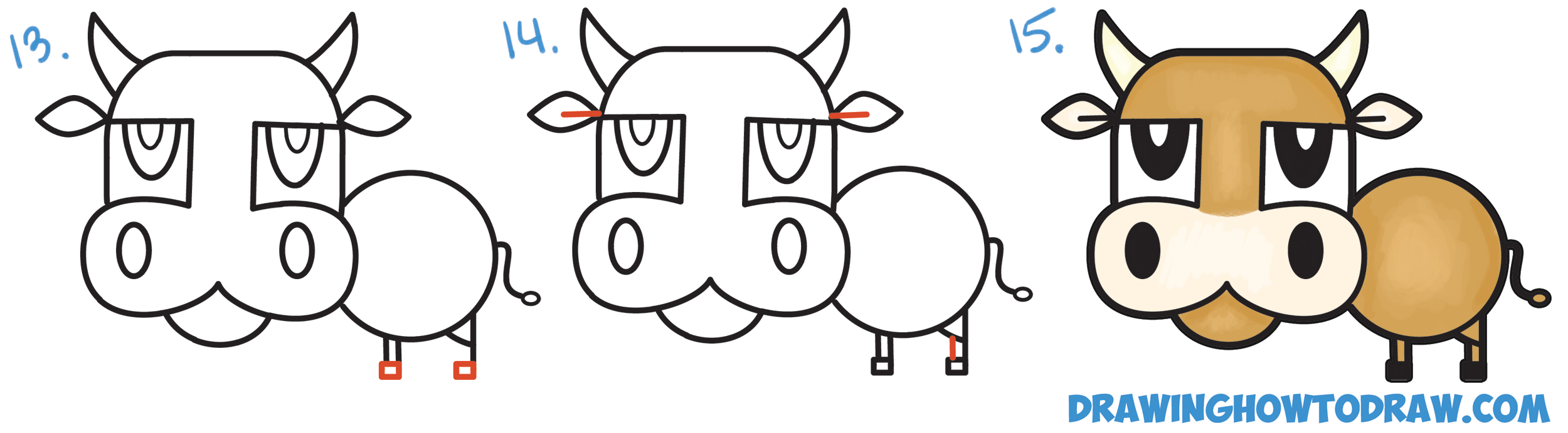 2500x692 How To Draw A Cartoon Bull Cow From Numbers Amp Letters Easy Step