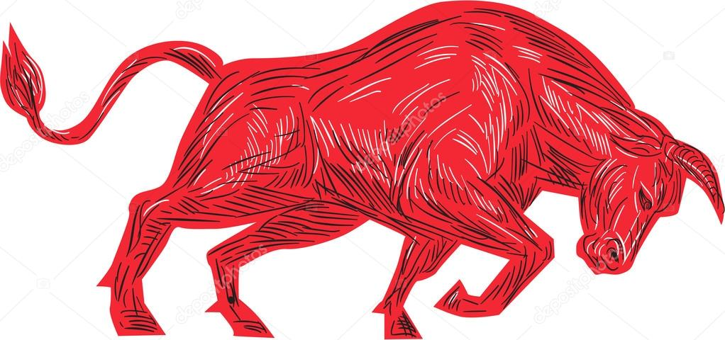1022x480 Bull Charging Drawing Stock Vector Patrimonio