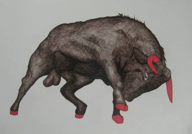 770x538 Saatchi Art Darling Bull Drawing By Joseph Vassie