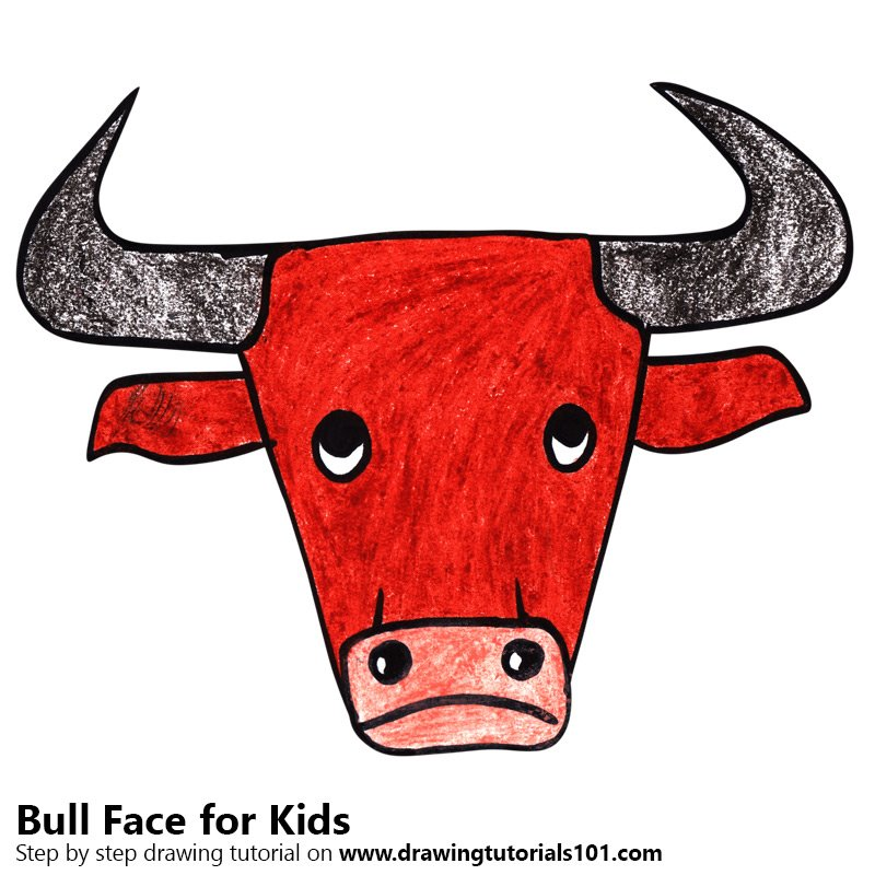 800x800 Learn How To Draw A Bull Face For Kids (Animal Faces For Kids