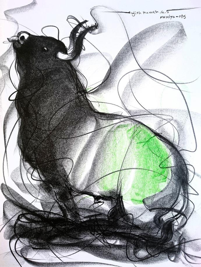 690x918 Bull Drawing 600 By Artist Sujith Kumar Gs Mandya Impressionism
