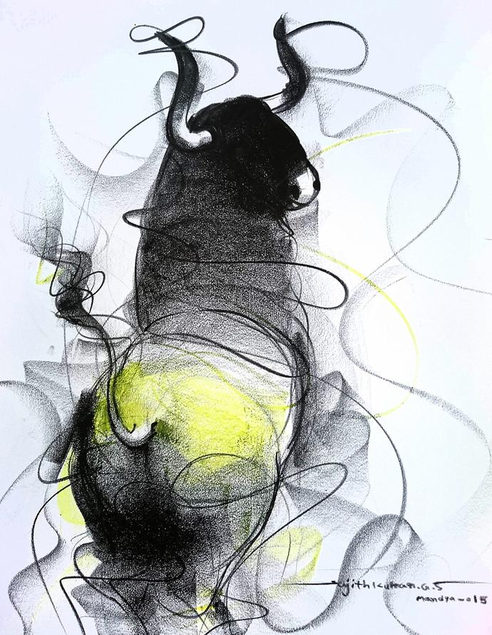 690x890 Bull Drawing 601 By Artist Sujith Kumar Gs Mandya Impressionism