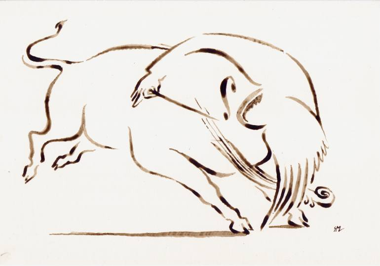 770x540 Saatchi Art Cello Bull Swallowing An Angel Drawing By Sasha Meret