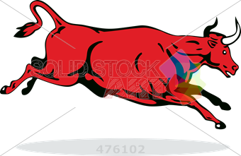 340x221 Stock Illustration Of Drawing Of Red Bull Jumping Side View Facing