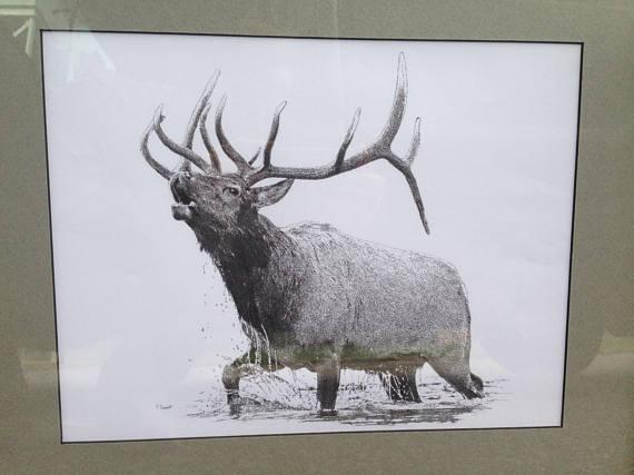 570x427 Bull Elk Bugling In River Original Pointillism Drawing Bull