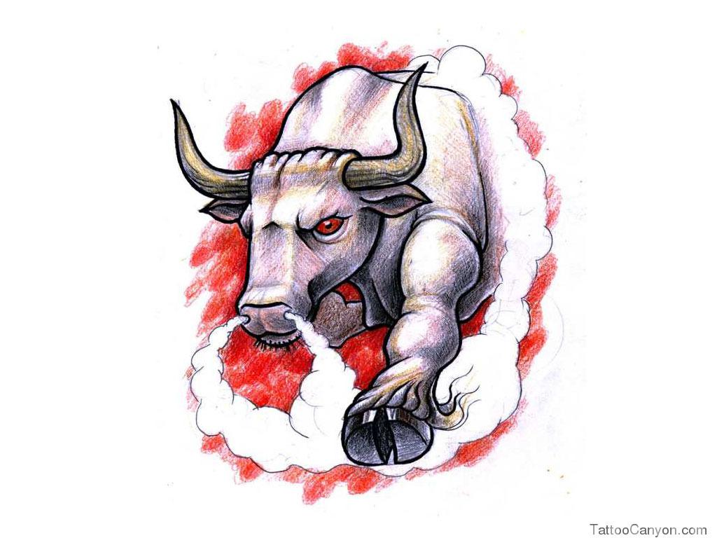 1024x768 1596 Free Designs Angry Bull Tattoo Wallpaper Tattoo Design